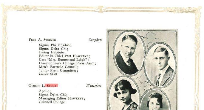 George Stout, Hawkeye Yearbook, 1921