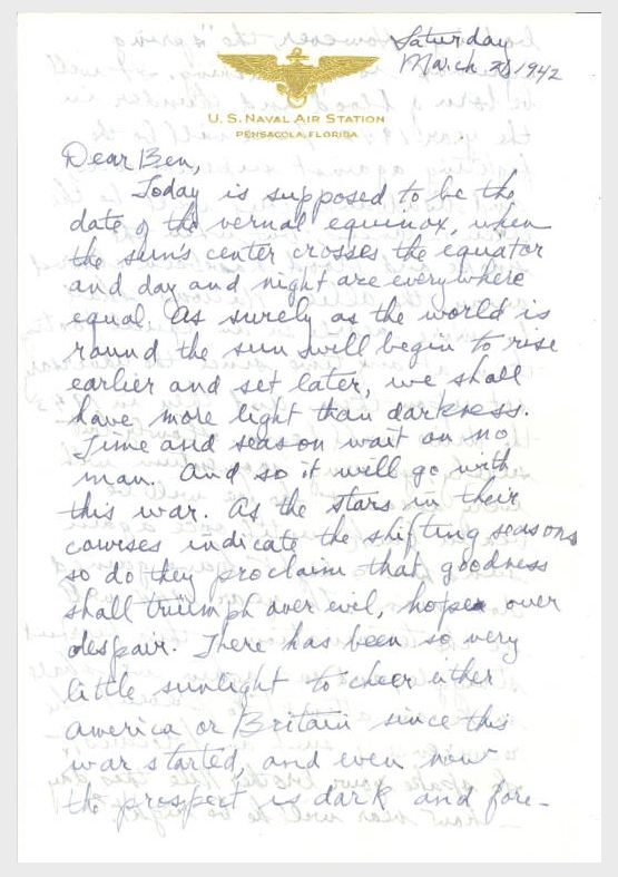 Nile Kinnick letter to his brother, Ben, March 21, 1942