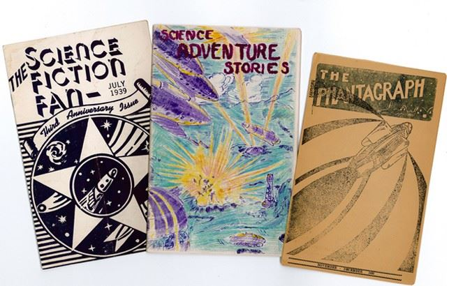 Selected fanzines from the Hevelin Collection, featuring hectographed and hand-colored covers and writing from early science fiction fans. Images courtesy of UI Libraries and Special Collections.