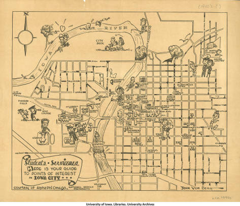 University of Iowa campus map, ca. 1943