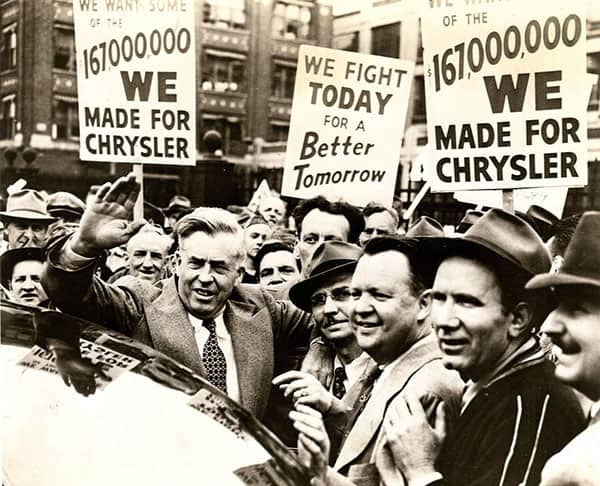 Henry Wallace with Chrysler workers, Detroit, Mich., 1950s