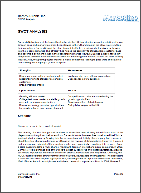 barnes and noble swot analysis