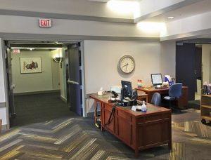 Entrance and service desk