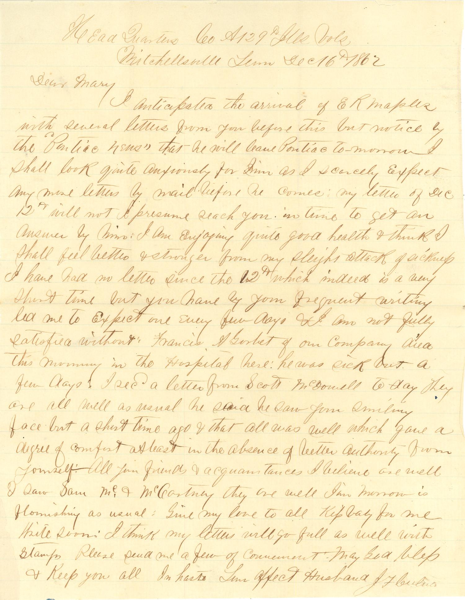 Joseph Culver Letter, December 16, 1862, Letter 2, Page 1