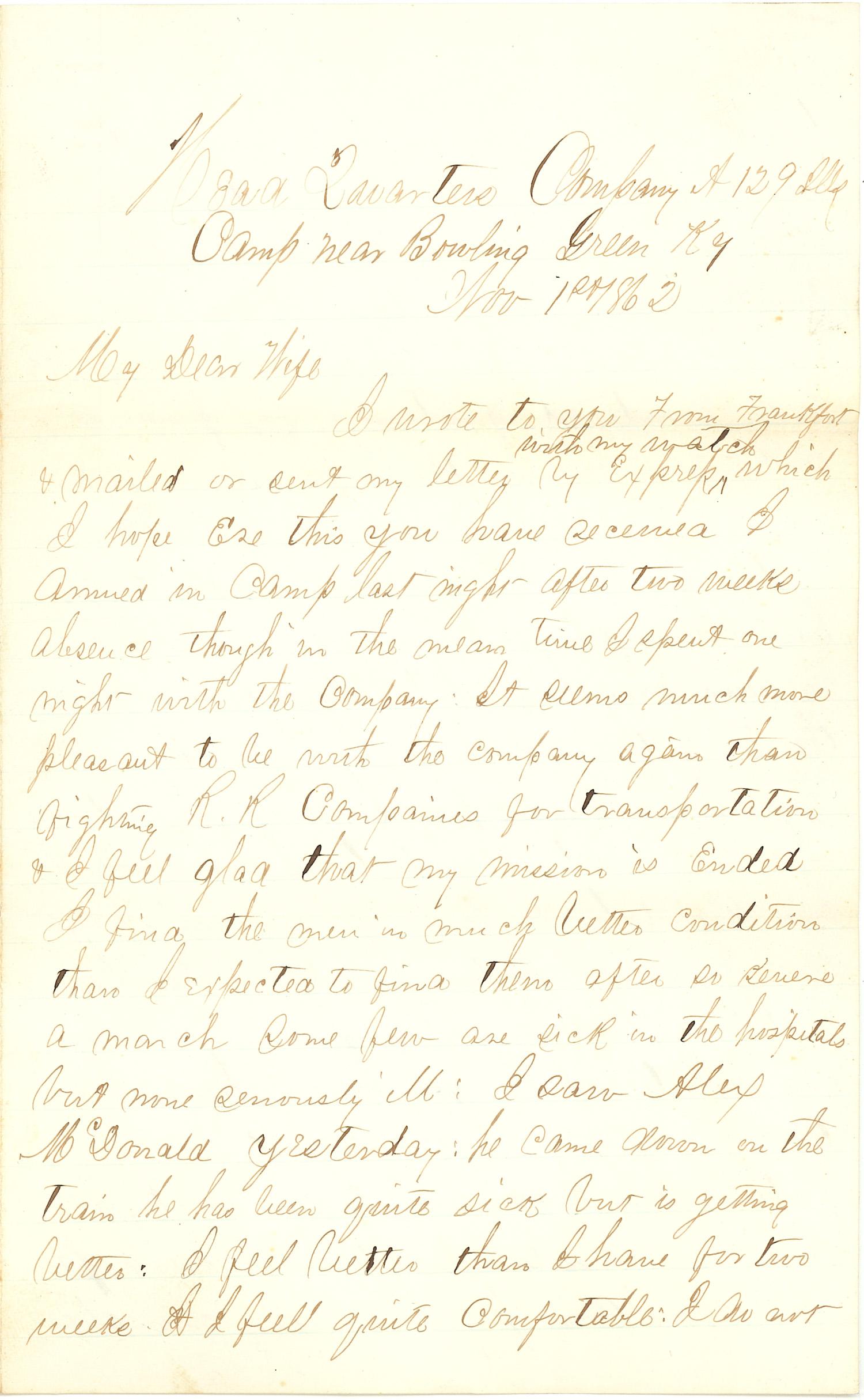 Joseph Culver Letter, November 1, 1862, Page 1