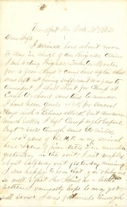 Joseph Culver Letter, October 20, 1862, Page 1