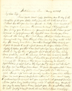 Joseph Culver Letter, January 12, 1863, Page 1