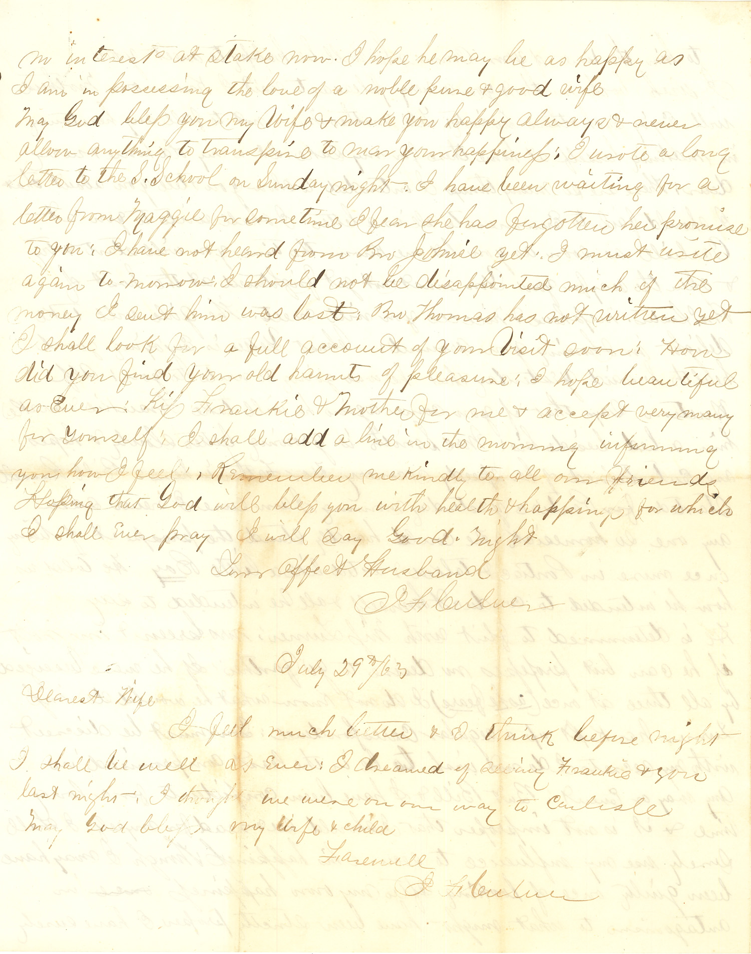 Joseph Culver Letter, July 29, 1863, Page 1