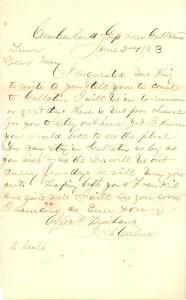 Joseph Culver Letter, June 2, 1863, Page 1