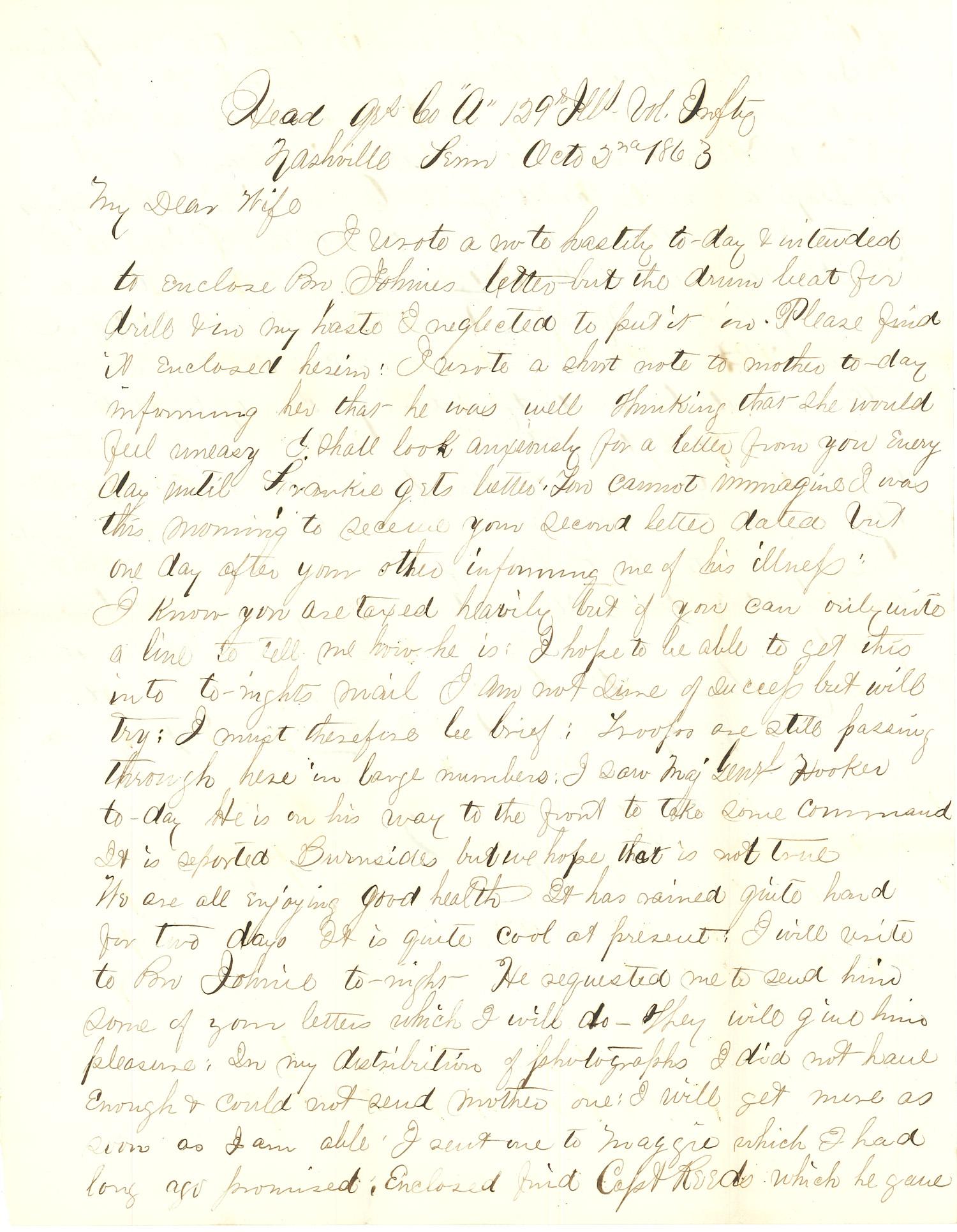 Joseph Culver Letter, October 2, 1863, Letter 2, Page 1