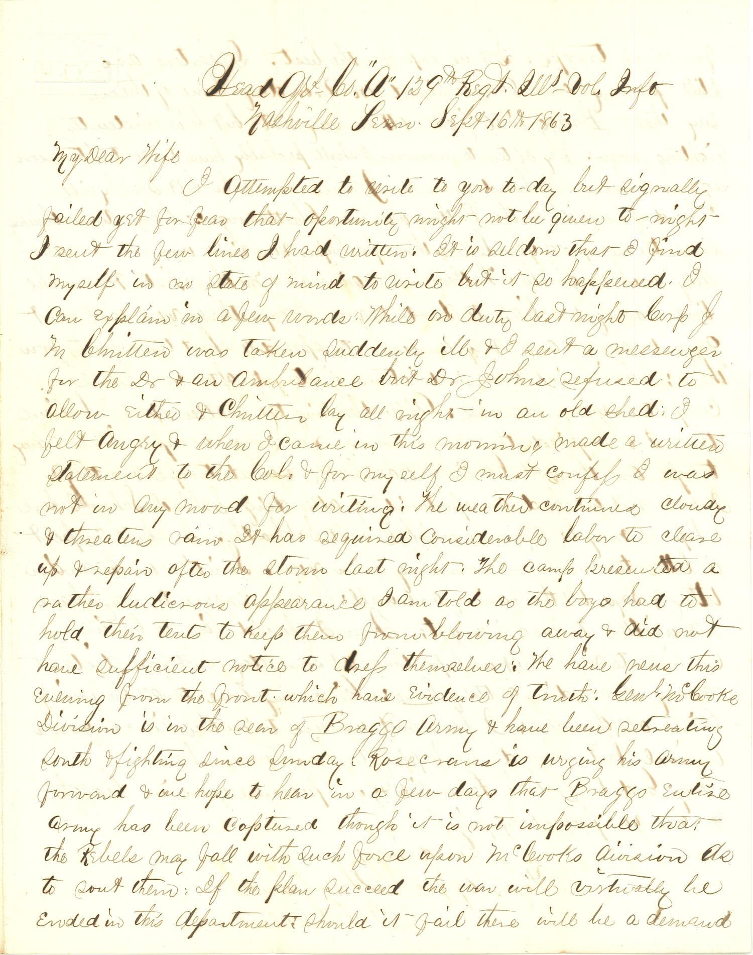 Joseph Culver Letter, September 16, 1863, Letter 2, Page 1