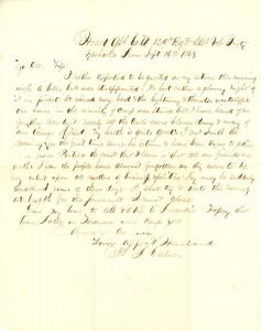 Joseph Culver Letter, September 16, 1863, Page 1