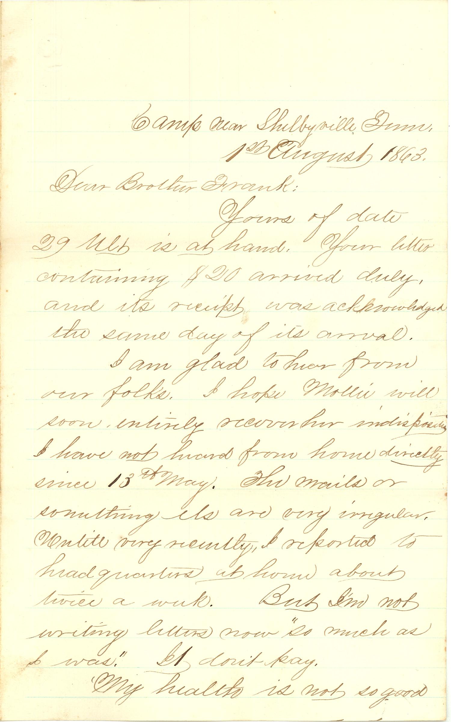 Joseph Culver Letter, August 1, 1863, Page 1