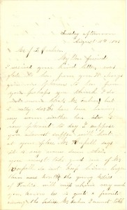 Joseph Culver Letter, August 11, 1863, Page 1