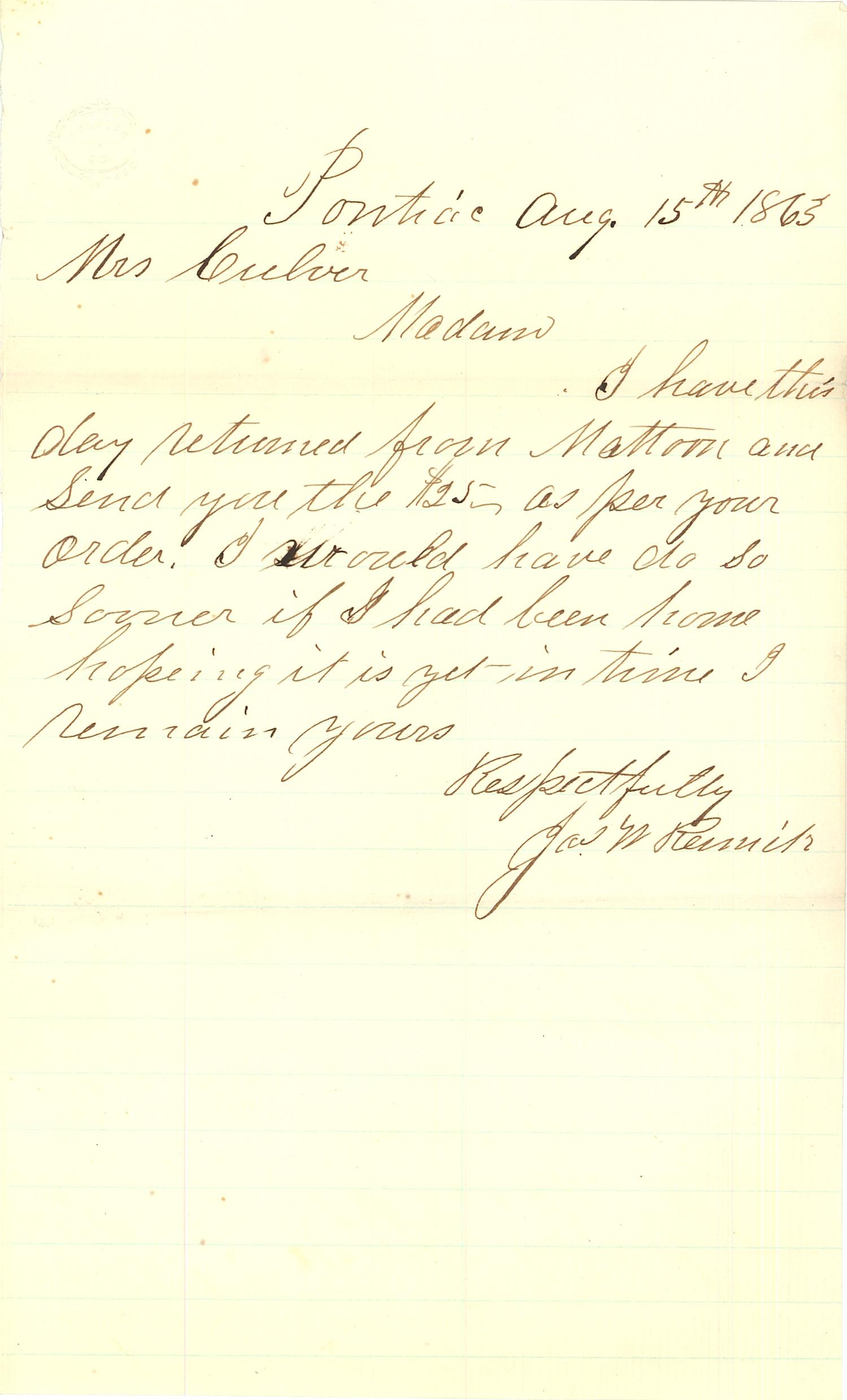 Joseph Culver Letter, August 15, 1863, Page 1