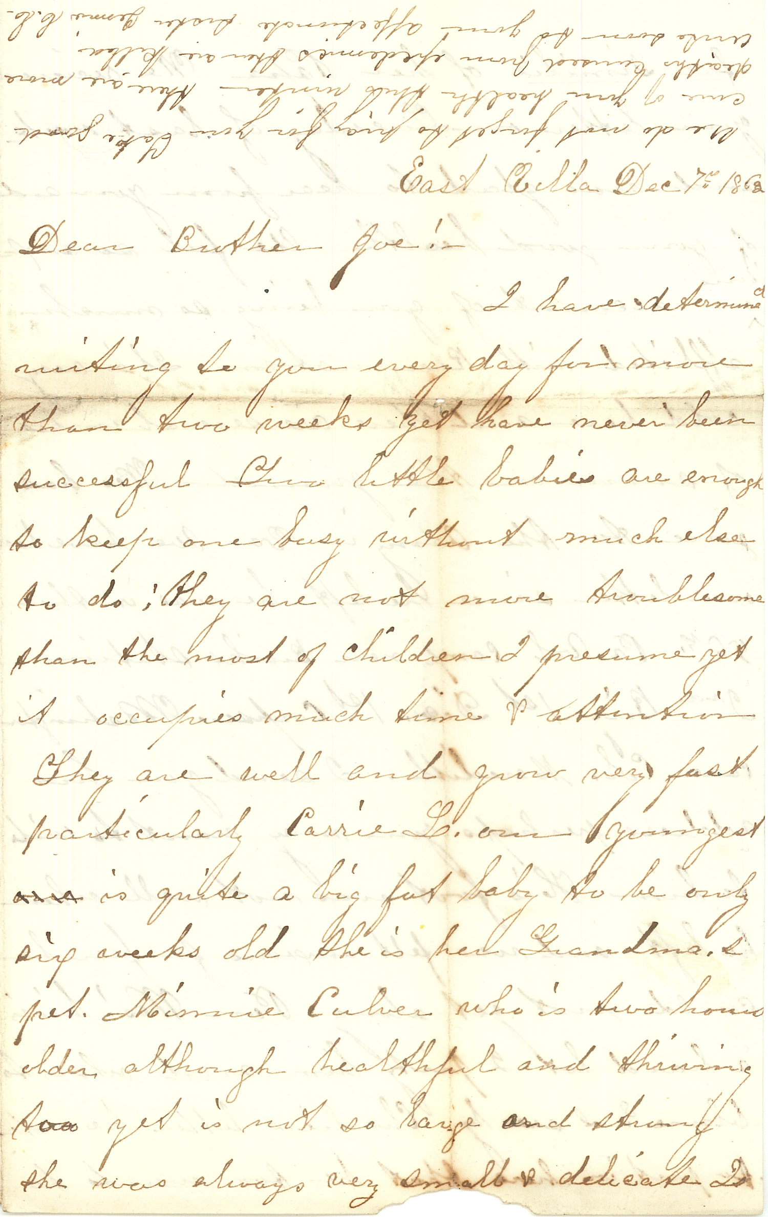 Joseph Culver Letter, December 7, 1863, Page 1