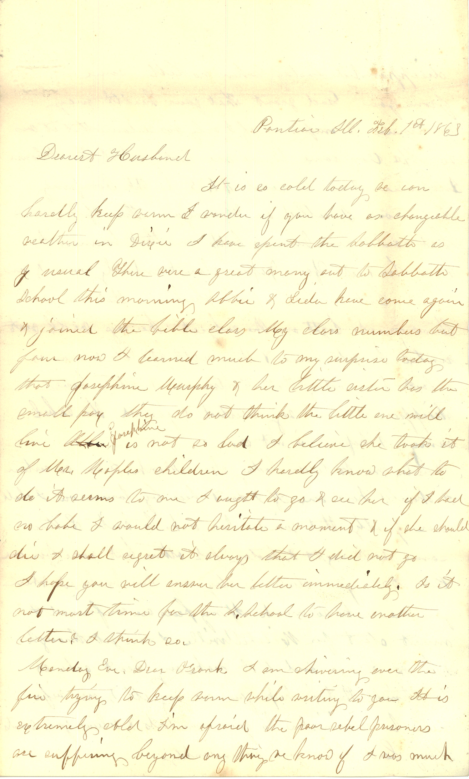 Joseph Culver Letter, February 1, 1863, Page 1