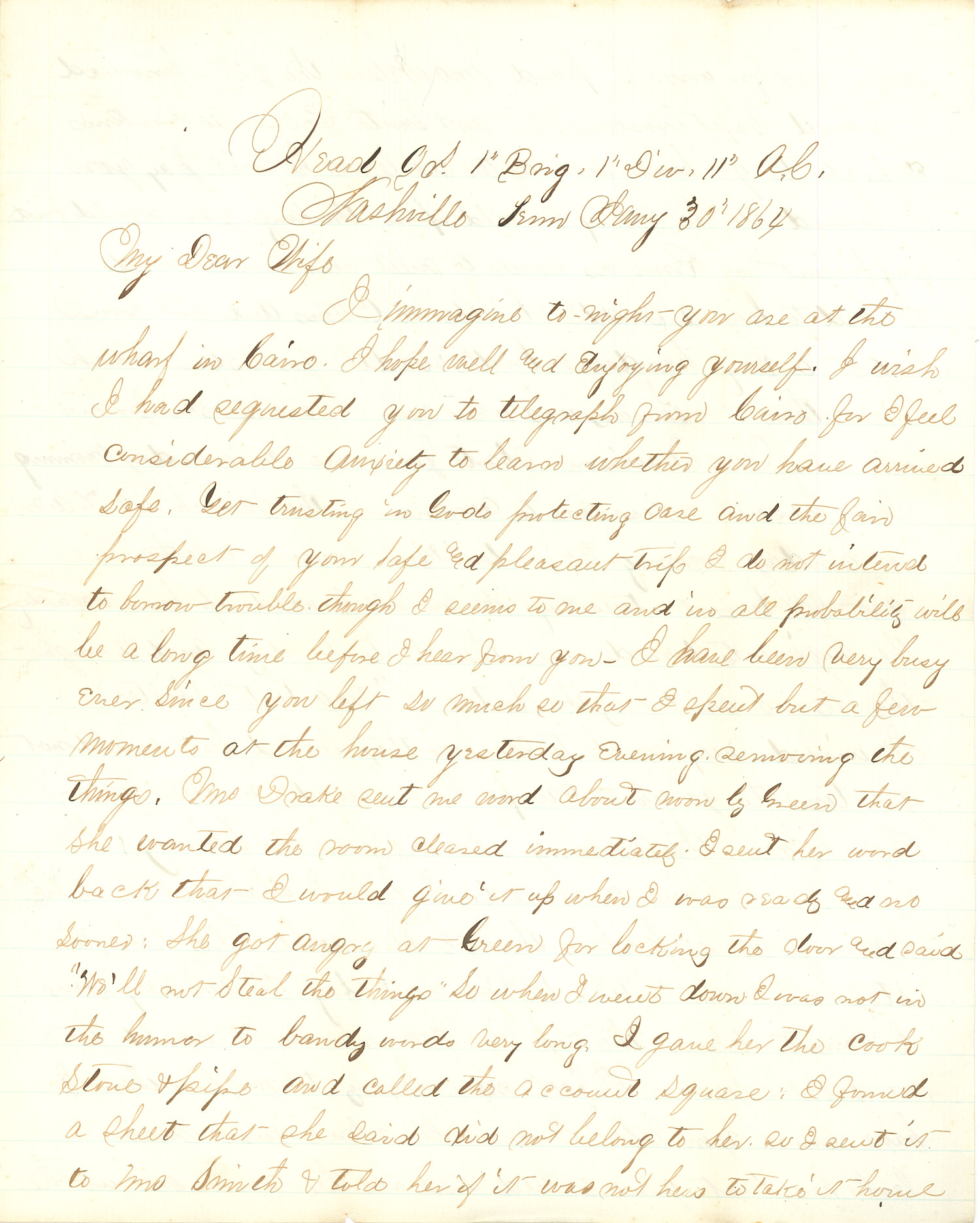 Joseph Culver Letter, January 30, 1864, Page 1