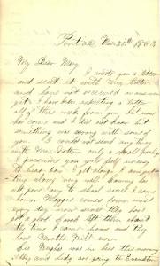 Joseph Culver Letter, March 20, 1863, Page 1