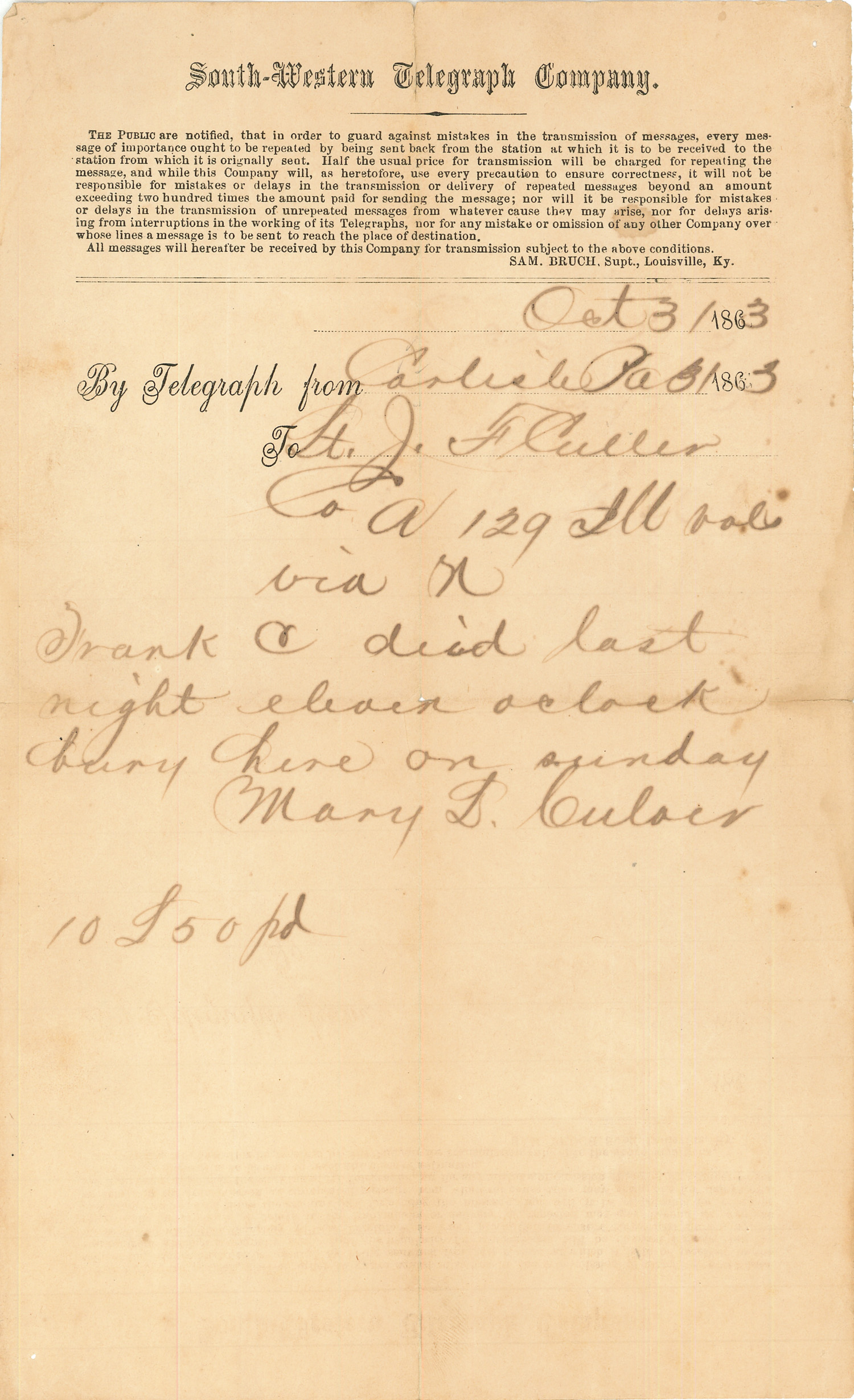 Joseph Culver Letter, October 31, 1863, Page 1 Telegram