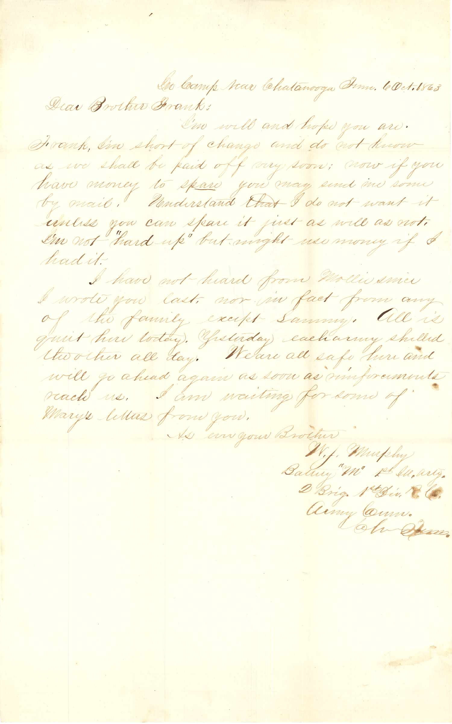 Joseph Culver Letter, October 6, 1863, Letter 2, Page 1