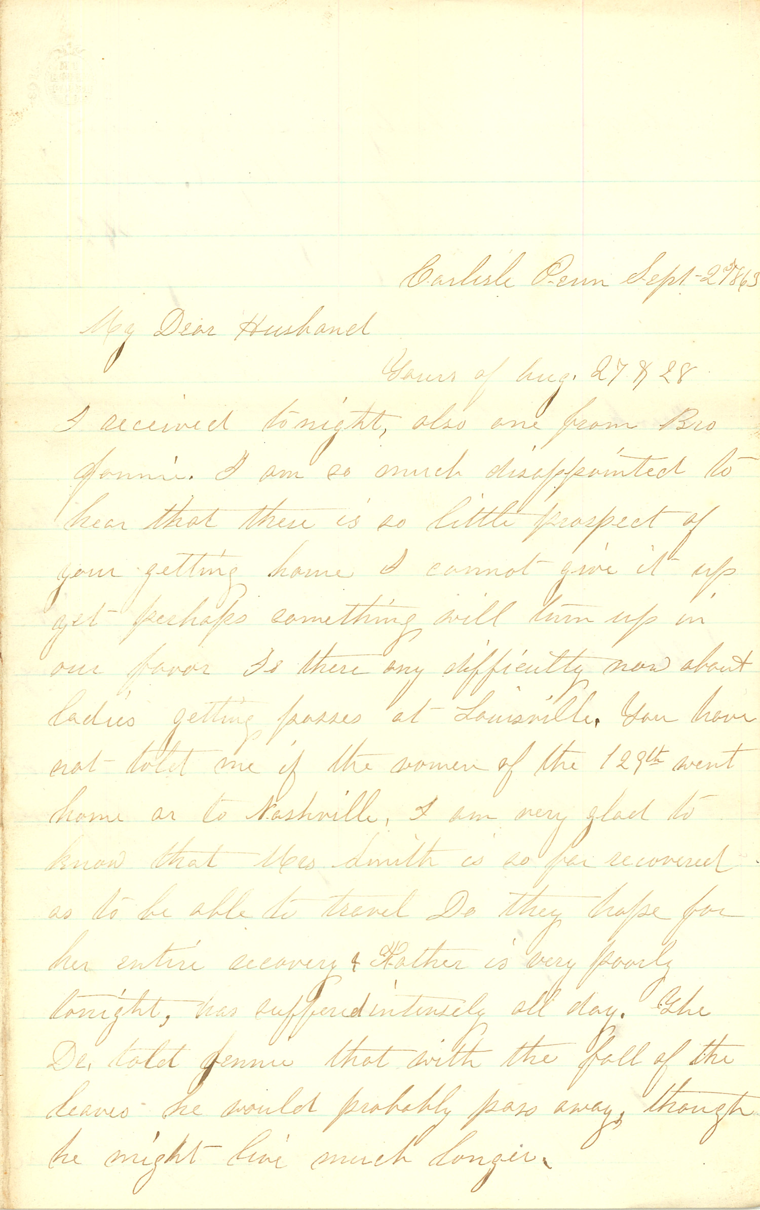 Joseph Culver Letter, September 27, 1863, Page 1