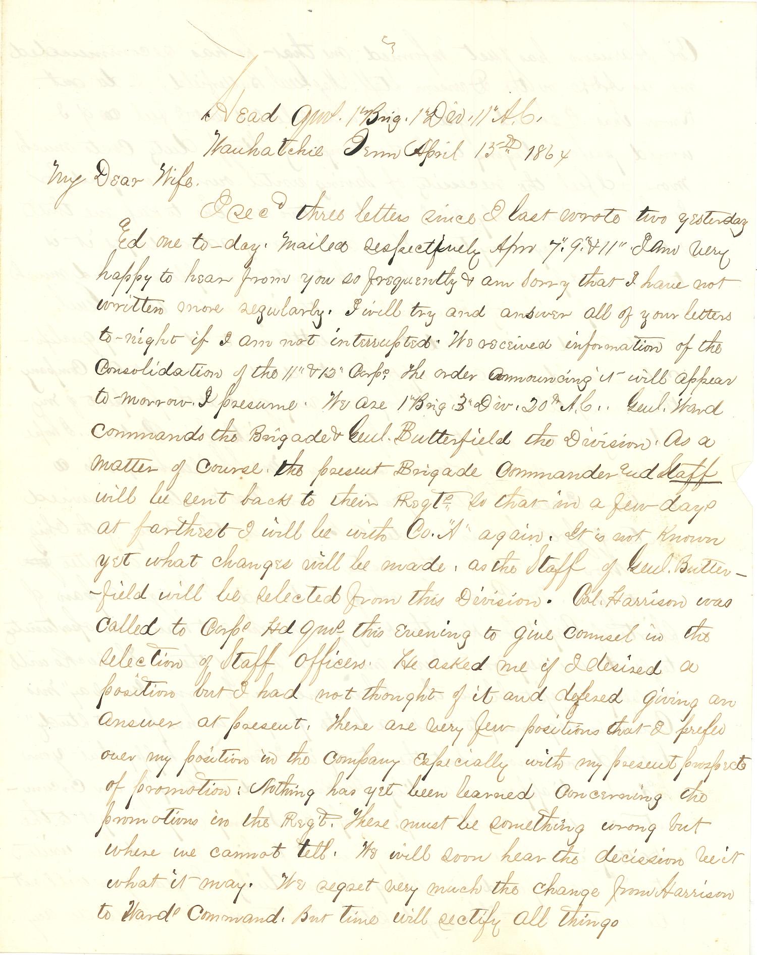 Joseph Culver Letter, April 15, 1864, Page 1