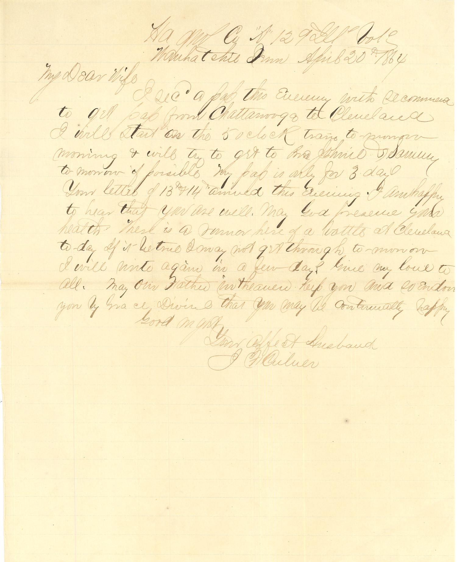 Joseph Culver Letter, April 20, 1864, Page 1