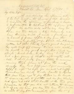 Joseph Culver Letter, April 27, 1864, Page 1