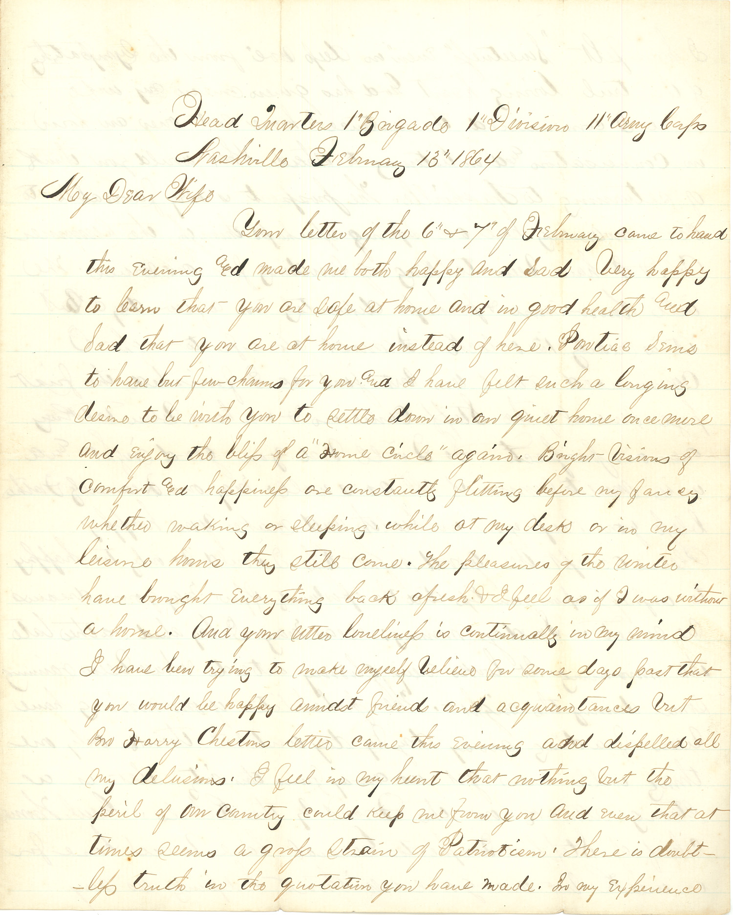 Joseph Culver Letter, February 13, 1864, Page 1