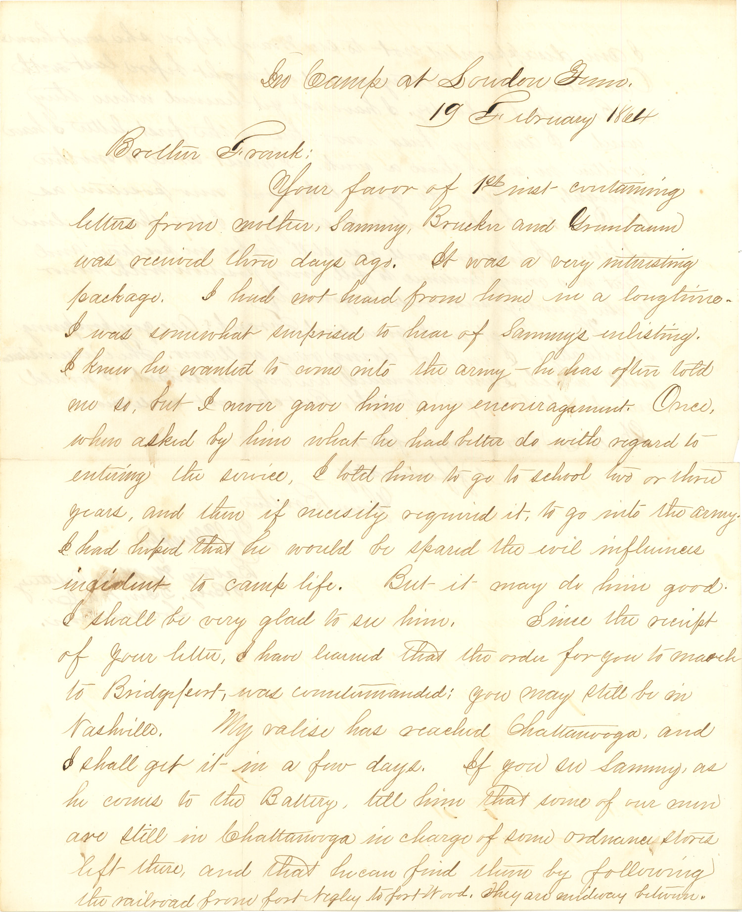Joseph Culver Letter, February 19, 1864, Page 1