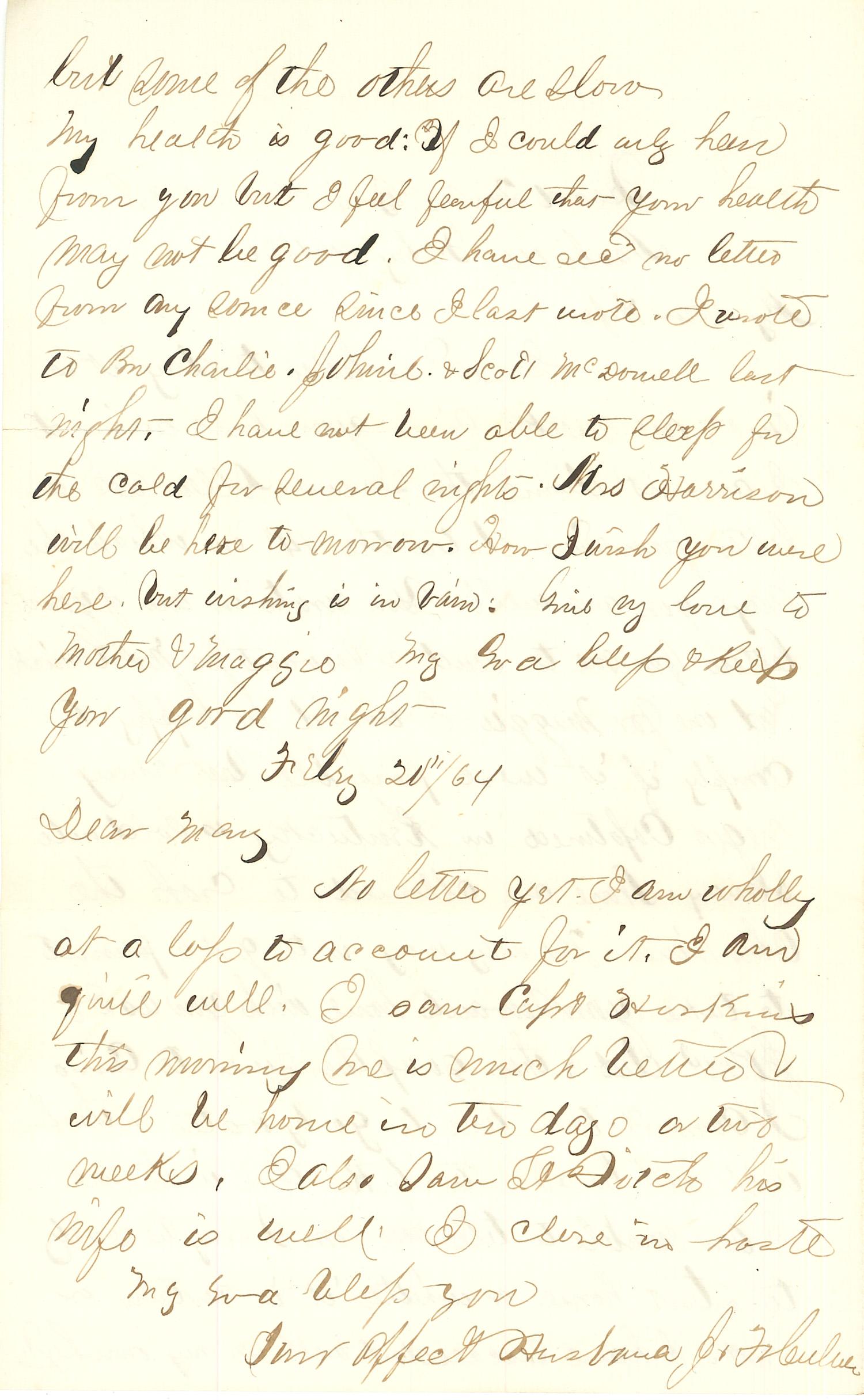 Joseph Culver Letter, February 20, 1864