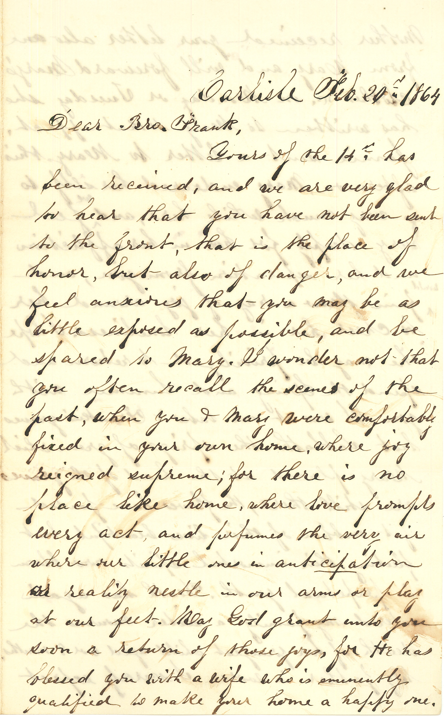Joseph Culver Letter, February 20, 1864, Page 1