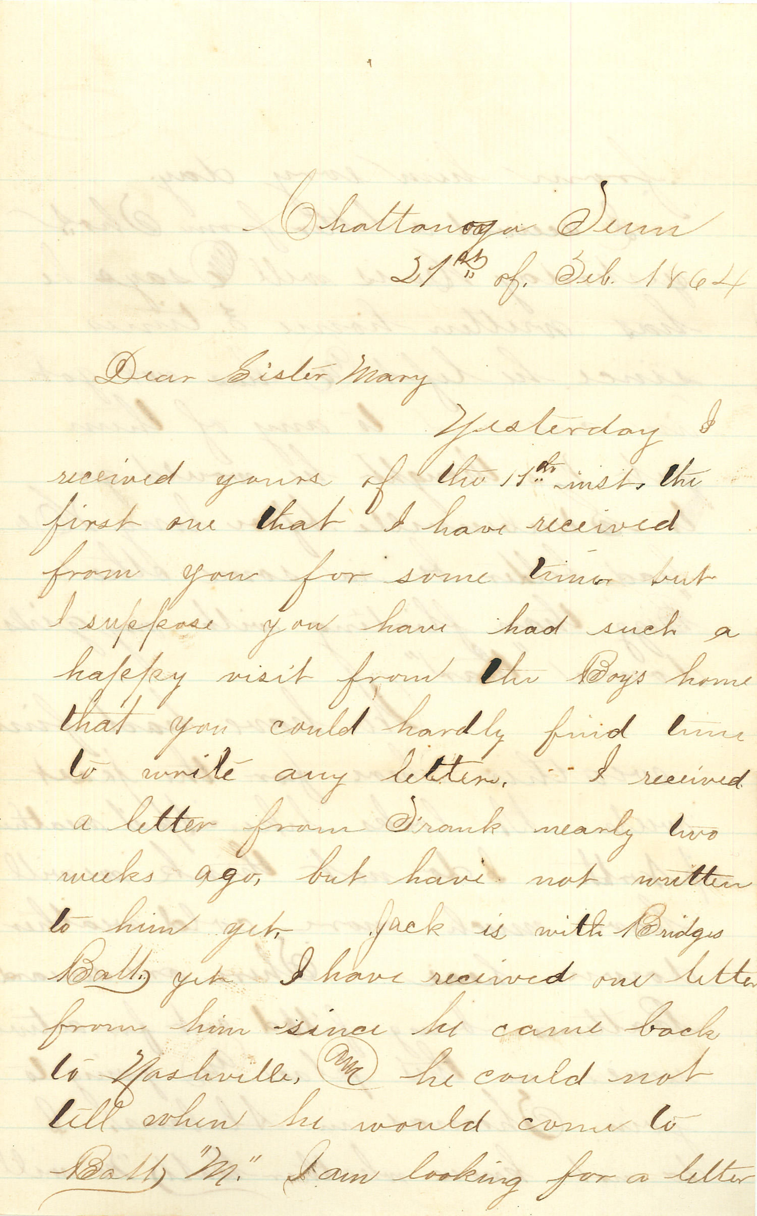 Joseph Culver Letter, February 21, 1864, Letter 2, Page 1