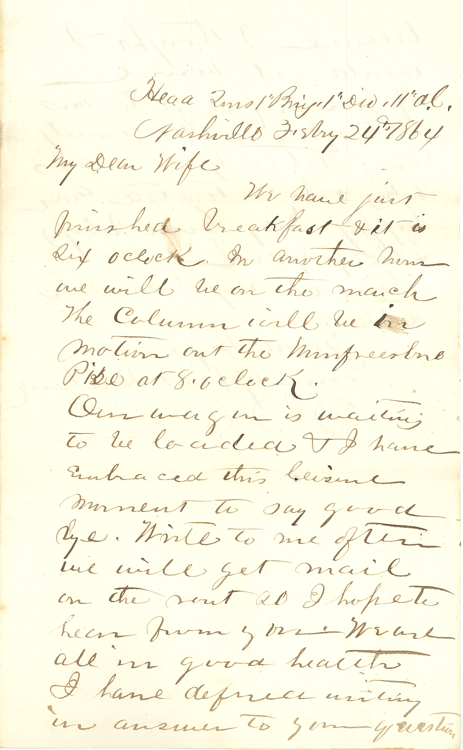 Joseph Culver Letter, February 24, 1864, Page 1