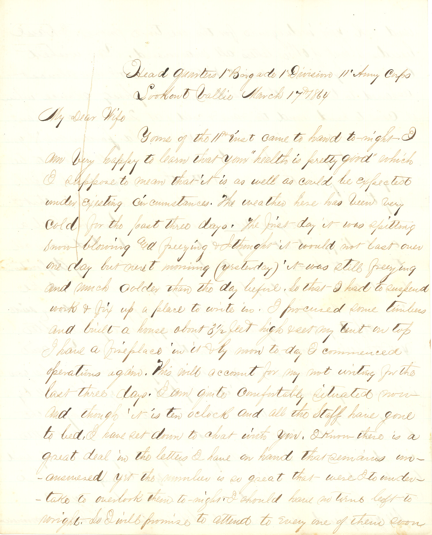 Joseph Culver Letter, March 17, 1864, Page 1