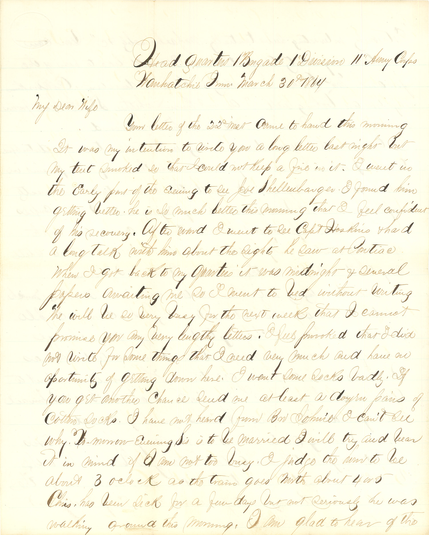 Joseph Culver Letter, March 30, 1864, Page 1