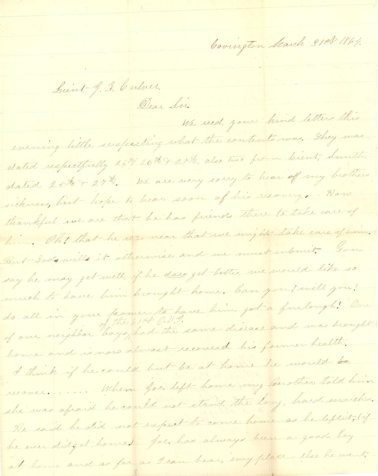 Joseph Culver Letter, March 31, 1864, Page 1