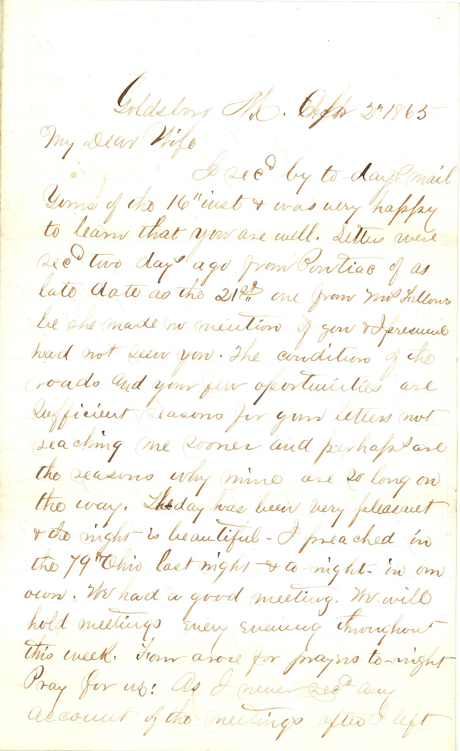 Joseph Culver Letter, April 2, 1865, Page 1