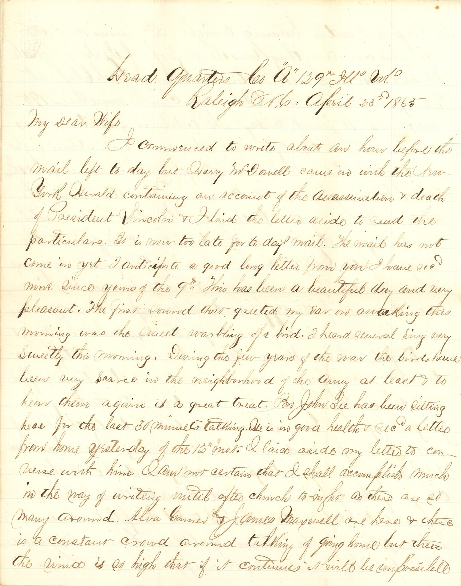 Joseph Culver Letter, April 23, 1865, Page 1