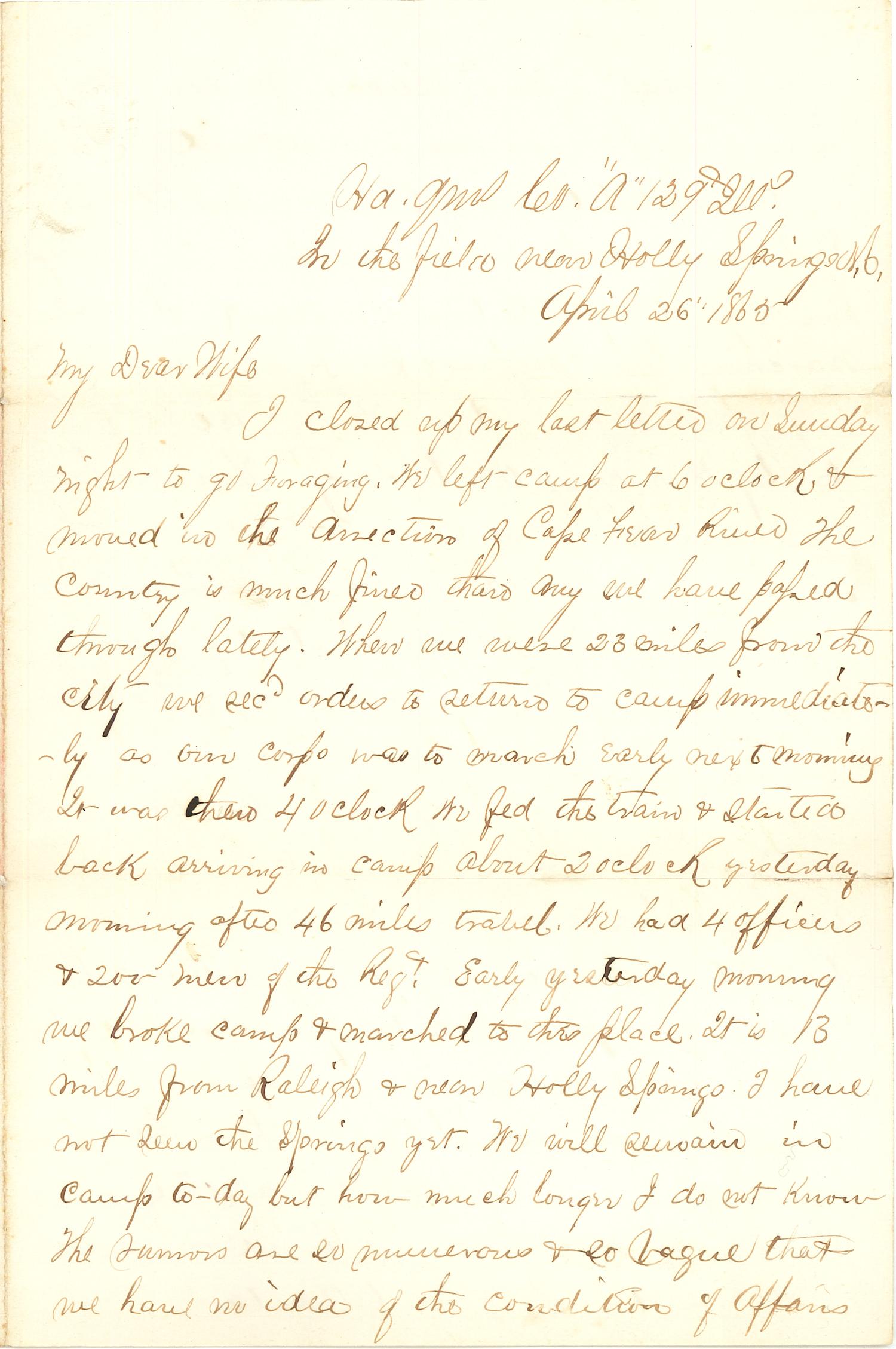Joseph Culver Letter, April 26, 1865, Page 1