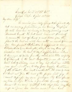 Joseph Culver Letter, April 28, 1865, Page 1