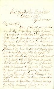 Joseph Culver Letter, April 5, 1865, Letter 2, Page 1
