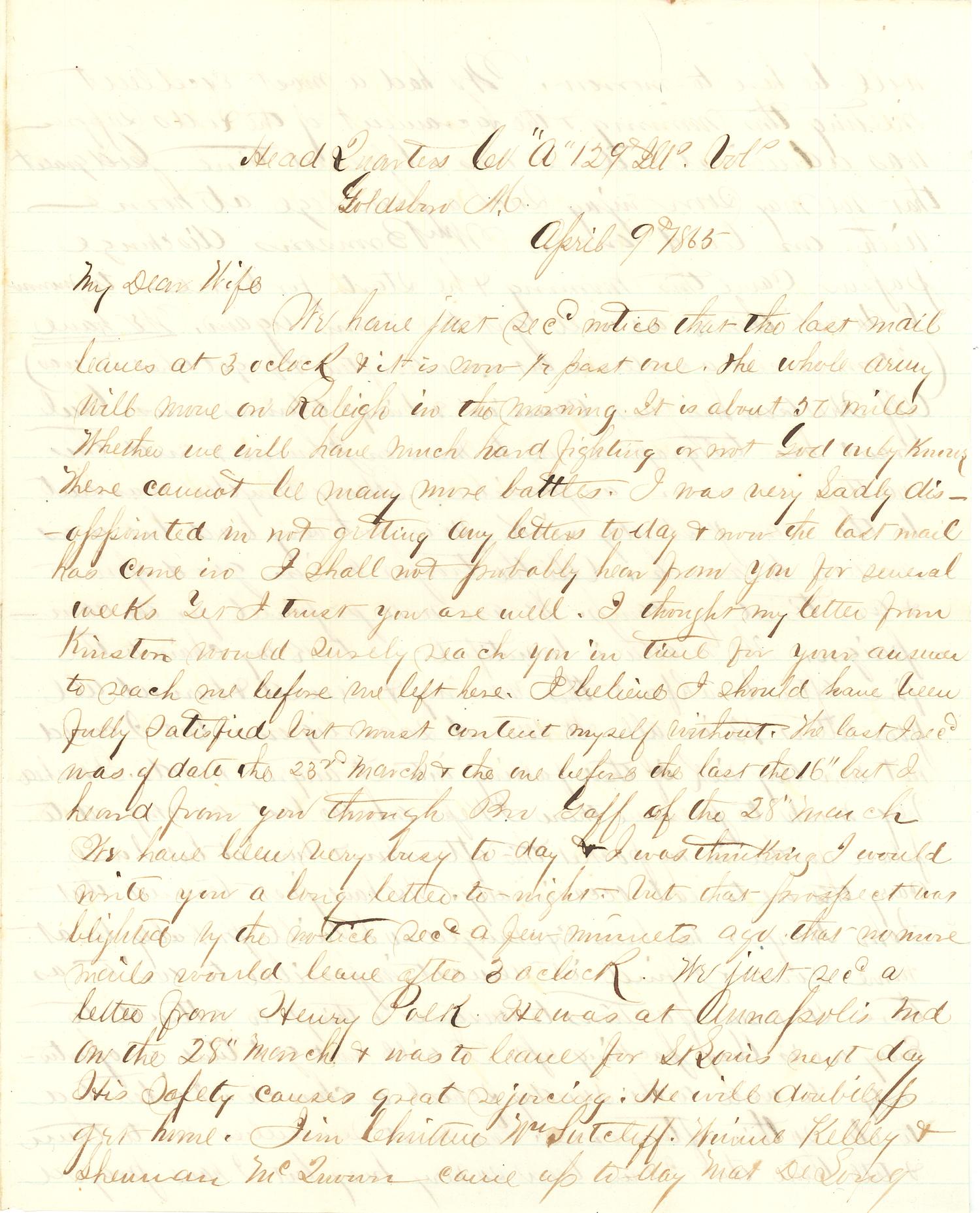 Joseph Culver Letter, April 9, 1865, Page 1