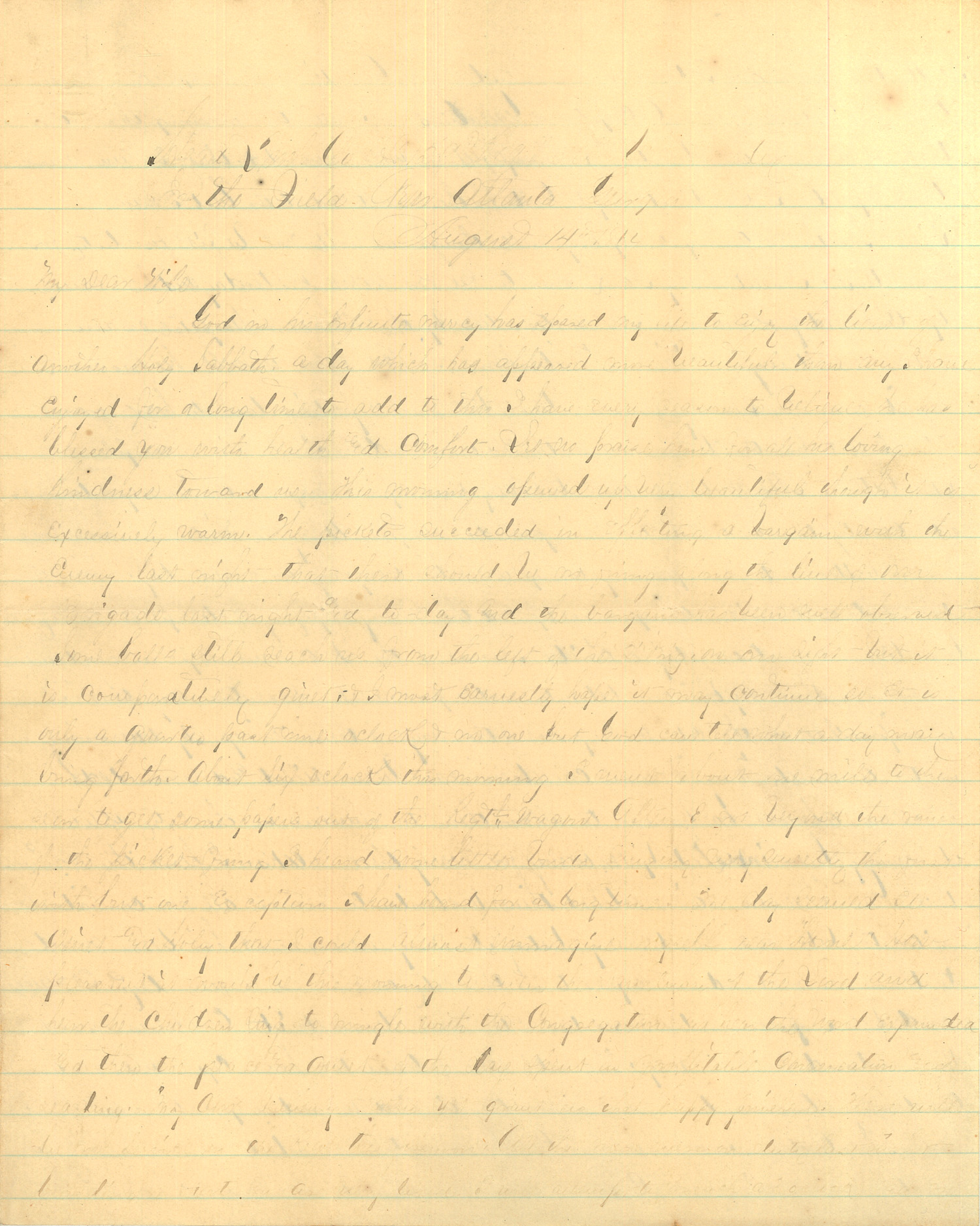 Joseph Culver Letter, August 14, 1864, Page 1