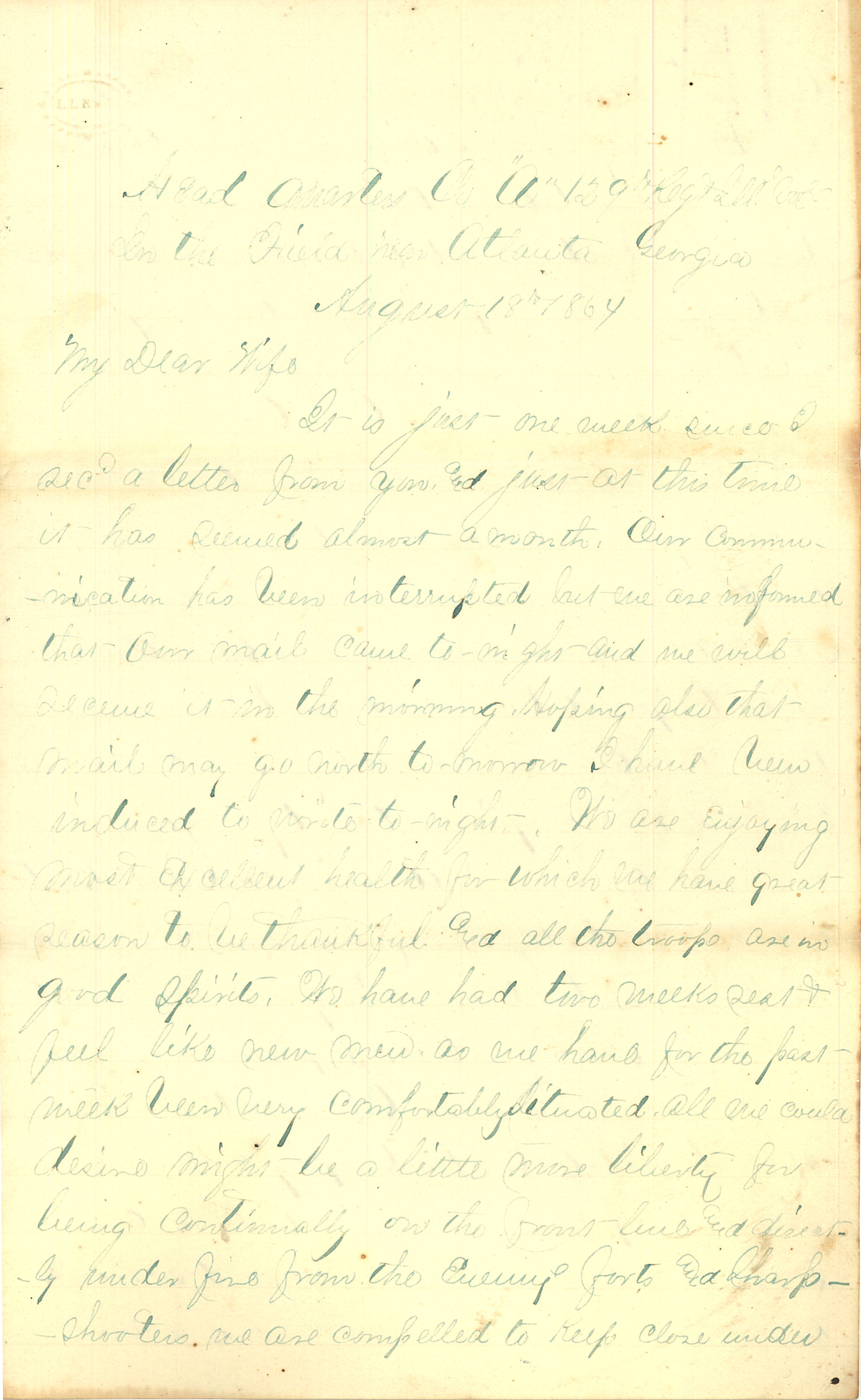 Joseph Culver Letter, August 18, 1864, Page 1
