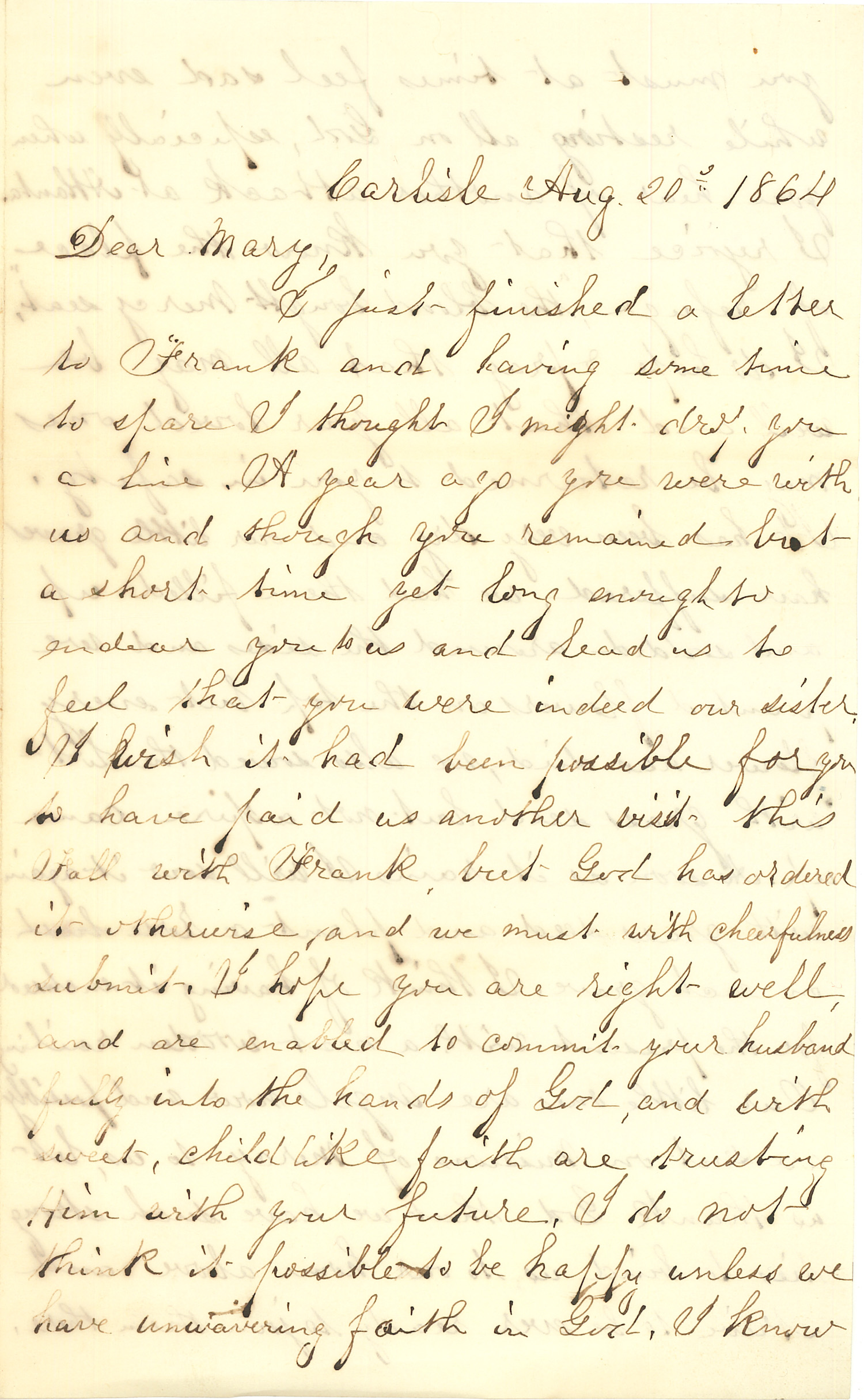 Joseph Culver Letter, August 20, 1864, Page 1