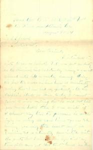 Joseph Culver Letter, August 30, 1864, Letter 2, Page 1