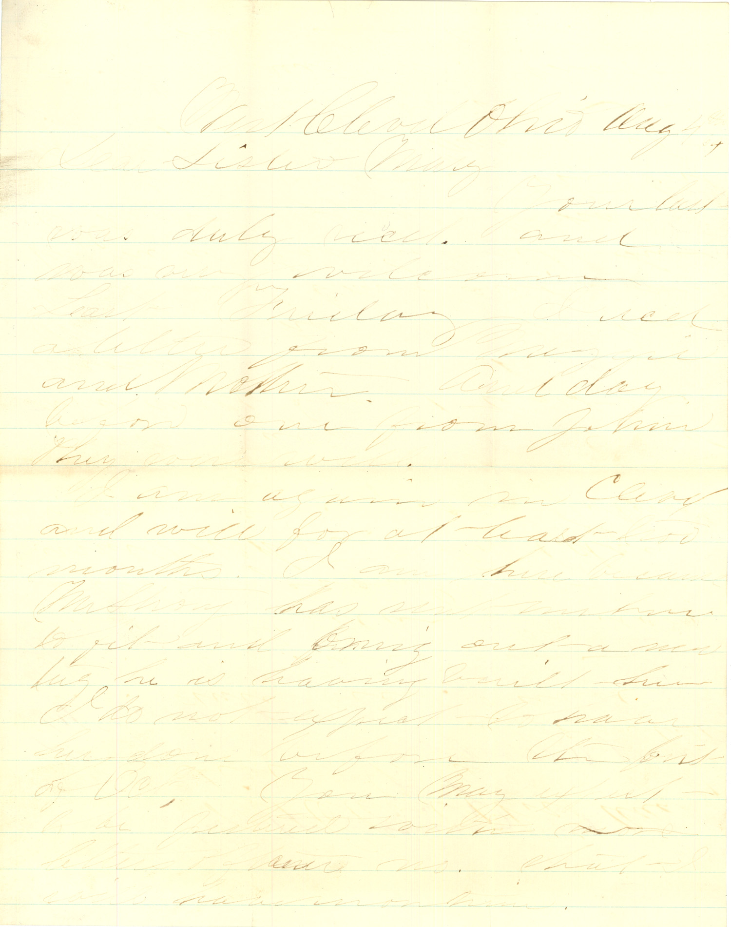Joseph Culver Letter, August 4, 1864, Page 1