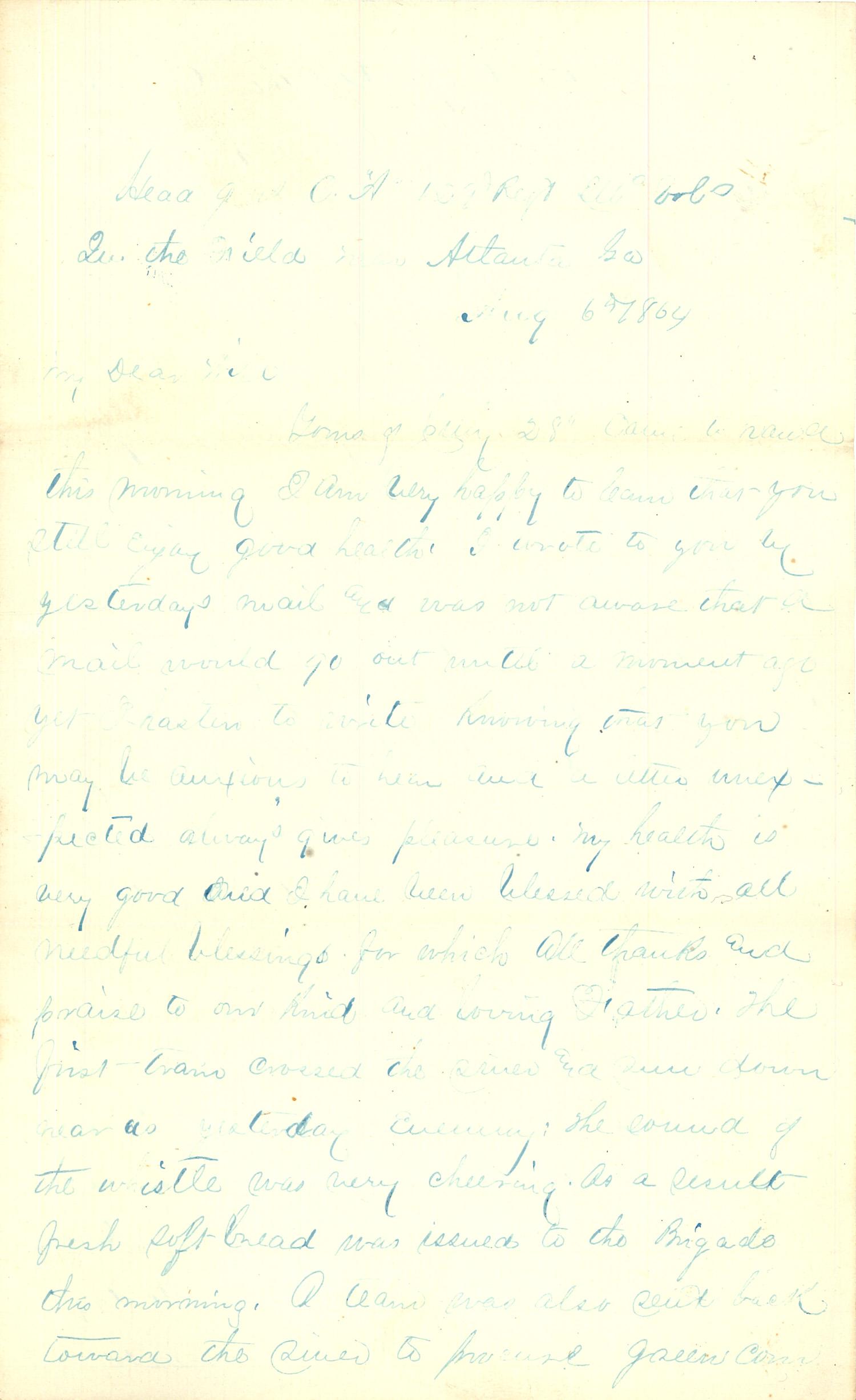 Joseph Culver Letter, August 6, 1864, Page 1